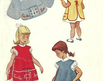 Childs Cobbler Apron Pattern and Tic Tac Toe Game Size 4 Chest 23