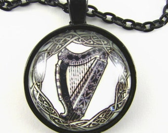 CELTIC LYRE Necklace -- Celtic endless knot necklace, Irish harp, Great gift for a Celtic music lover
