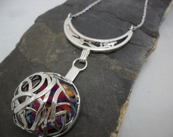 Extravagant partially oxidized sterling silver necklace