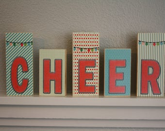 """CHEER Block Set- Set of 5- Blocks are roughly 4.5"""" and 5.5"""" tall"""