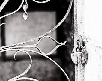 Black and White Cemetery Gate Photograph, black and white photograph, cemetery gate, cemetery, gothic, cemetery art