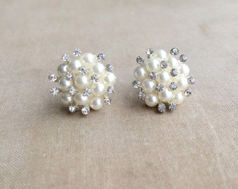 Bridal Pearl Crystal earring , Art Deco bridal earring, pearl, rhinestone, wedding jewelry, pearl earring, stud  post IVORY pearl cluster