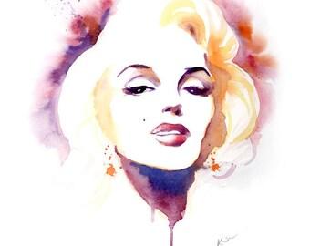 Marilyn Monroe- Watercolor painting art print