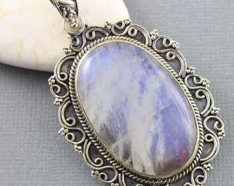 Rainbow Moonstone Pendant, 925 sterling silver pendant, Silver Pendant, Pendant for Necklace, Rainobow Moonstone, Artisan Pendant, (SP-7034)
