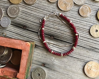 Natural Ruby gemstone bracelet with 925 sterling silver Venetian chain