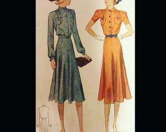 Vintage 30s Gathered Shoulder Gored Skirt Shirtwaist Day Dress Sewing Pattern 9853 B34