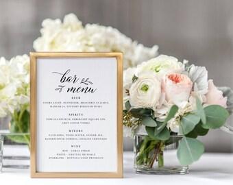 Wedding Bar Menu Template, Drink Sign, Printable Bar Menu Wedding, Wedding Drinks Menu, Bar Menu Sign, Drinks Printable Wedding  - KPC04_317