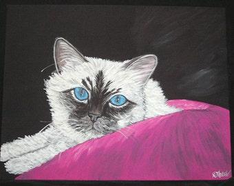 Birman Cat Original Canvas Painting 11 x 14 FINAL SALE Home decor