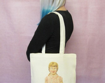 Creepy Doll Tote Bag Halloween Bag Creepy Canvas Tote Bag Weird Macabre Goth Girl Bag American Horror Story