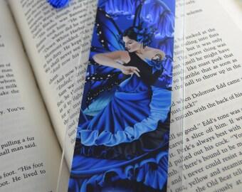 Blue Fairy Art Bookmark, Dancing Blue Fairy Bookmark, Blue Butterfly Fairy Bookmark, Blue Bookmark Tassel,