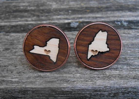 HIS & HERS State Cufflinks. Wood Inlay. Wedding, Men's, Groomsmen Gift, Dad, Father of the Bride. Custom Orders Welcome. Rose Gold, Silver