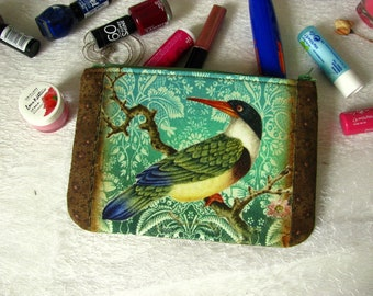 Zippered pouch with bird on turquise damask, makeup bag, phone case, purse