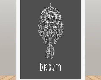 Dream Catcher Print, Bedroom Decoration, Make Your House A Home, Framed Wall Art