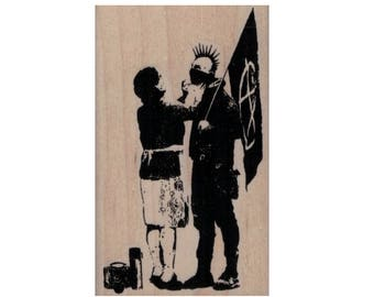 Rubber stamp Banksy  Mom Preparing Anarchist   stamping graffiti outsider art play  craft supplies number  20074