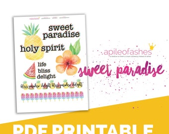 Sweet Paradise Words Bible Journaling Digital Download Printable