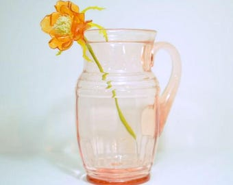 Pink Depression Glass Pitcher 64 Ounce 8 Cup Capacity Vintage Decor