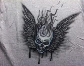Airbrushed Smoking Winged Skull Design on T- Shirt or Hoodie