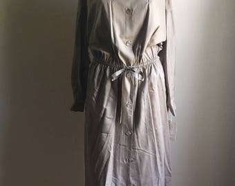Deadstock Oversized Silk Khaki Shirtdress •