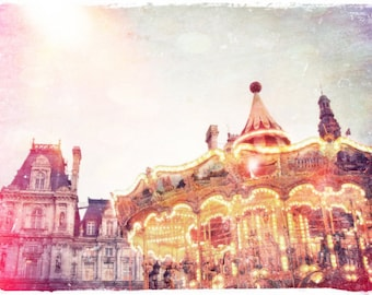 "Parisian Carousel Photo ""The Carnival is Over"" Fine Art French Vintage Photograph - European Travel Art - Pink Pastel Dreamy Glow"