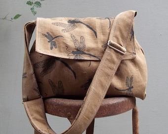 Medium Messenger Bag - Dragonflies - Adjustable Strap - Pockets - Key Fob