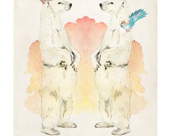 Polar Opposites | A5 print | Alykat Creative Animal series | Twin bear with crown bird