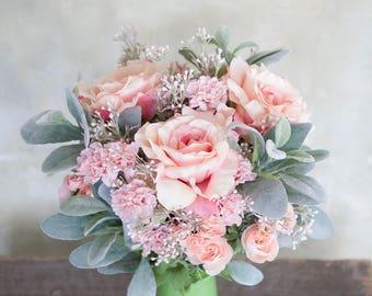 Small Bouquet, Pink Boquet, Wedding Bouquet, Rose Bouquet, Silk Flower Bridal Bouquet, Wedding Flowers, Bride Bouquet, Faux Bouquet, Bouquet