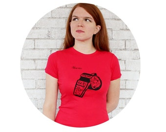 "Whistle Tshirt With ""Blow Me"" Text, Red Cotton Crewneck Ladies Tshirt, Junior Fit Short Sleeved Tee, Roller Derby Referee tshirt, Clothing"