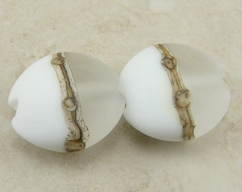 MADE to ORDER - White on White Lentil Lampwork Bead Pair - Wedding Pure White Etched Silvered Ivory - SRA - I ship Internationally