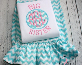 Big Sister Outfit - Girls Ruffle Pants Outfit, Girls Ruffle Pant Sets, Big Sister Announcement, Big Sister Shirt, Big Sister Gift, Skirt Set