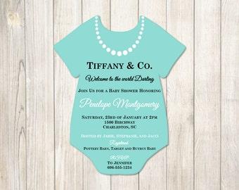 Breakfast at Tiffanys Baby shower Invitation blue