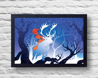 The Robot and the Reindeer- Sci Fi Woods Poster Print Illustration Digital Painting art, gift