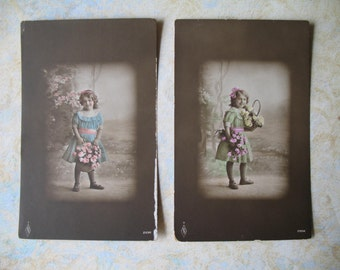 Hand Tinted Antique Vintage Edwardian Photo Postcards Girl with Flowers