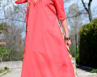 Coral Dress, Maxi  Dress, Women Dress, Plus Size Clothing, A Line Dress, Boho Dress, Loose Dress, Oversized Dress, Minimalist Dress