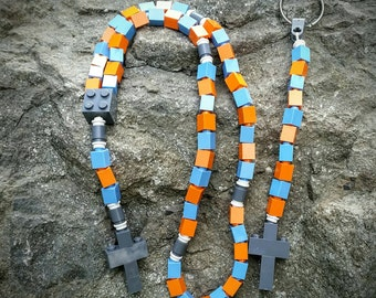 Boy's First Communion Gift Special-Lego Rosary and Lego Chaplet - The Original MementoMoose Catholic Lego Rosary - Blue, Orange and Gray