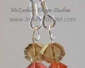 Crystal Sand and Sun Swarovski Crystal Dangle Earrings in colors of golden sand and peachy sunshine