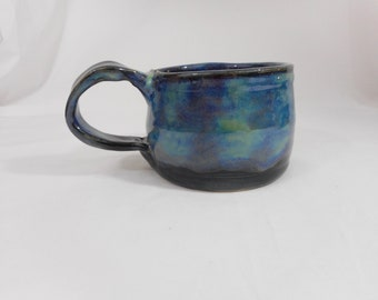 Variegated Stoneware Ceramic Mug, Handmade Pottery, Hand Painted, Hand Thrown, Drinkware, Coffee, Tea, Cup, Gift (C0028)