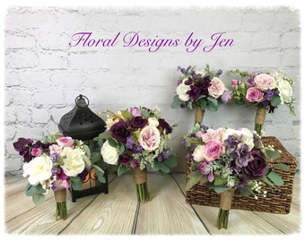 Wedding Bouquet, Bridal Bouquet, Plum Bouquet, Lavender Bouquet, Pink Bouquet, Artificial Bouquet, Silk Bouquet, Bouquet Package