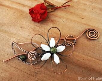 White flower hair barrette Wire hair accessories for wedding Metal hair barrette Copper hair clip barrette Hair accessories flower clip