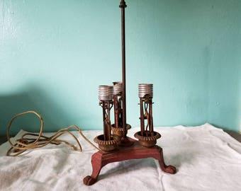 Antique cast iron lamp, rewiring project