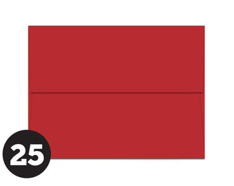 A7 Red Envelopes for 5 x 7 Invitations, Photos and Cards, A7 Envelopes, Red, Pack of 25