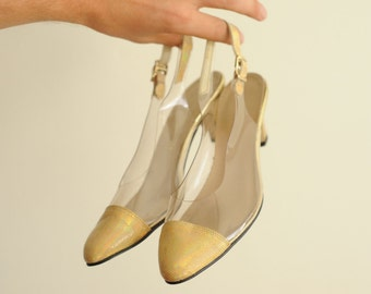 Vintage California Magdesians Clear Vinyl & Gold Holographic Cap Toe Heels, Made in USA, Womens 6 / ITEM327
