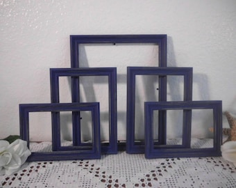 Navy Blue Frame Set Rustic Shabby Chic Distressed Picture Photo Gallery Collection Beach Cottage Lake House Cabin Nautical Decor