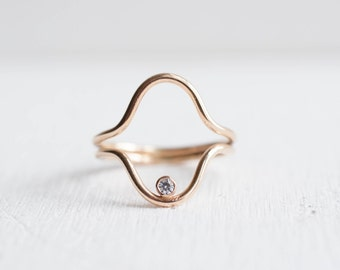 Moissanite Double Curve Ring | 14k Gold Fill