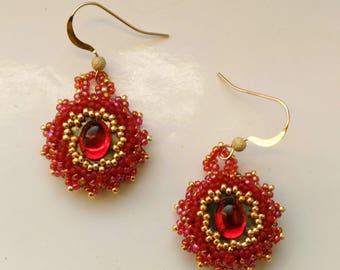 Beadwoven Gold Filled Earrings, Beaded Red Rhinestone Earrings, Cranberry Red Stones Gemstones - Elegant Pierced Earrings by enchantedbeads