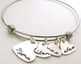 Custom Name Bracelet -  Hearts of Love - Personalized Mother's Bracelet - Mama Charm Bracelet