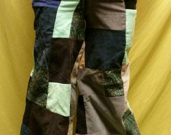 Blue Corduroy Patchwork Pants sz 30-33