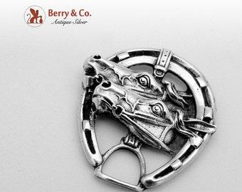 SaLe! sALe! Figural Horseshoe Horse Head Brooch Sterling Silver 1960