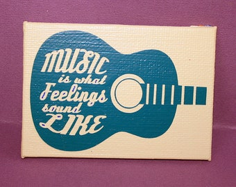Music Is What Feelings Sound Like Mini Canvas Magnet - Two by Three Inch