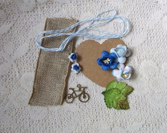 Flower Embellishment  Kit,  Scrapbooking Embellishment,  Shades of Blue, Card Making, Mixed Media, Tag Art, Tags, Mini Album, Art,