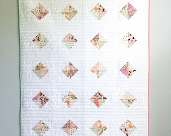 Patchwork Diamond Baby Girl Quilt, Play Mat, or Wall Hanging
